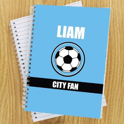 Sky Blue Football Fan A5 Notebook